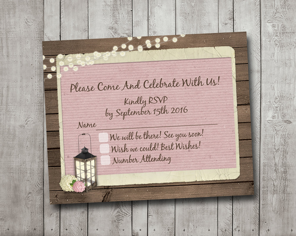 Rsvp Wedding Card Rustic Lantern Pink Hydrangea Fairy Lights Lace Vintage Digital File Or Printed I Customize For You