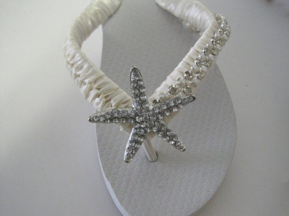 Flip Flops Wedding Reception French Knotted With Rhinestone Pearl Trim & Gorgeous Starfish Accent Destination
