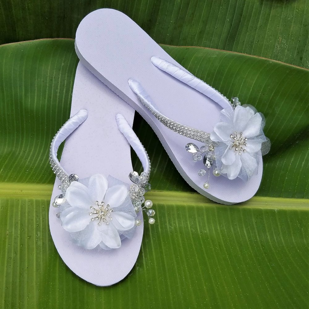 Bridal Flip Flops, Wedding Sandals, Flower Flops, Bridal Sandals, Rhinestone Flops, Wedding Shoes, Beaded Shoes, Crystal