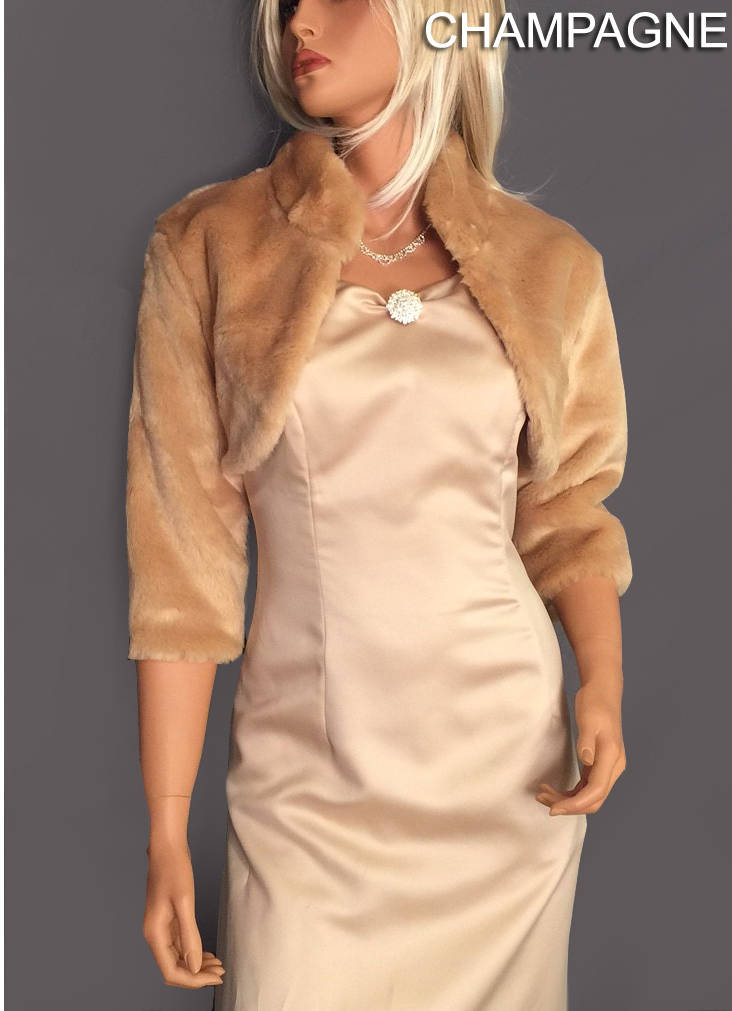 Faux Fur Beaver Bolero Jacket 3/4 Sleeve With Collar Bridal Shrug Wedding Stole Coat Evening Wrap Fba303 Avl in Champagne & 4 Other Colors
