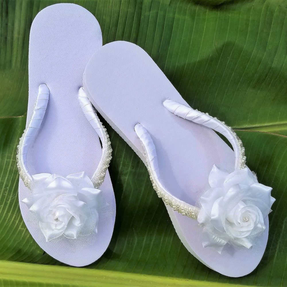 Bridal Flip Flops, Flower Flops, Wedding Sandals, Bridal Sandals, Rhinestone Shoes, White Wedding Flops, Rose