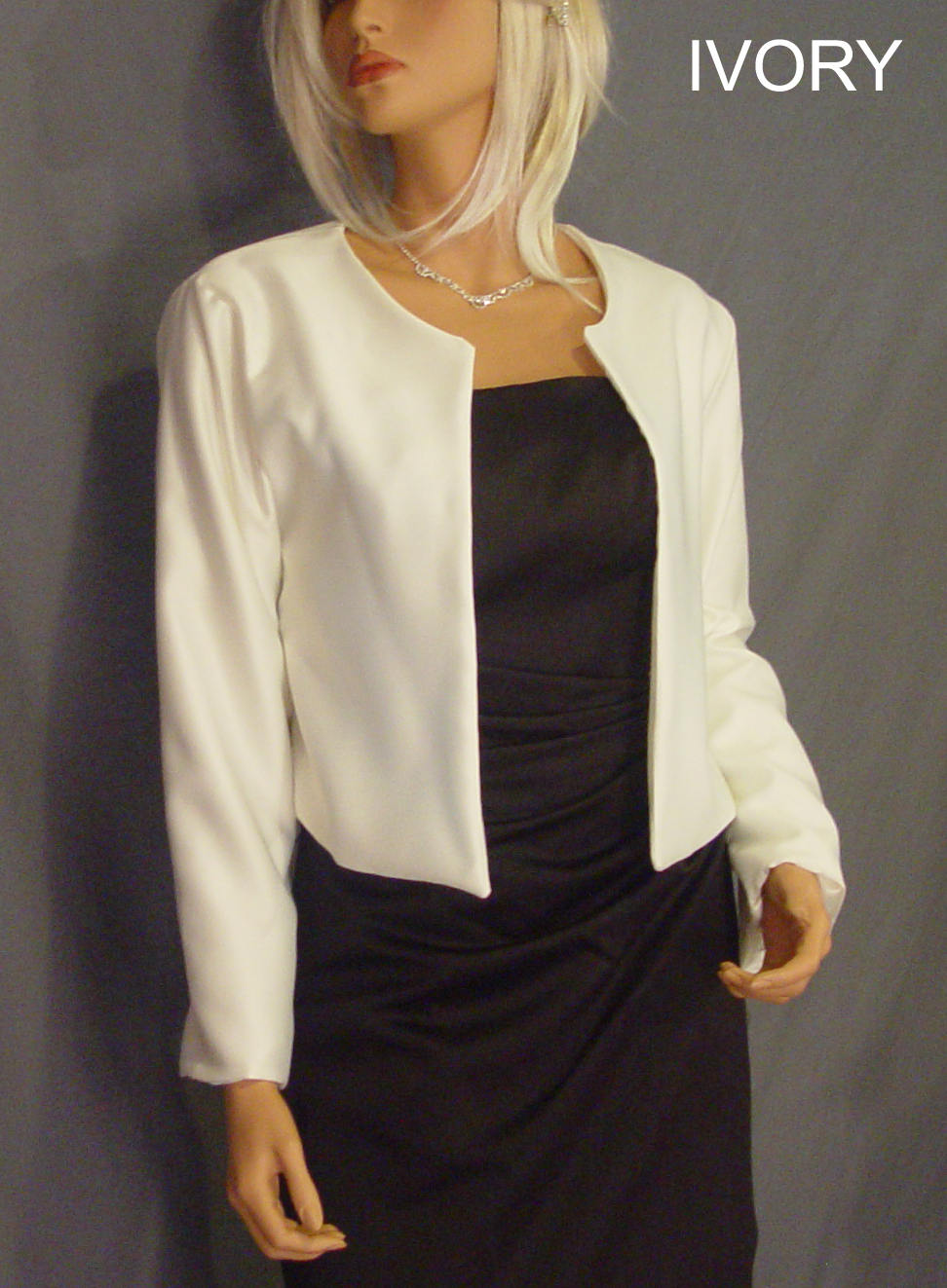 Satin Bolero Jacket With Long Sleeve Hip Length Wedding Shrug Coat Cover Up Sba130 Available in Ivory & 5 Other Colors. Small - Plus Size