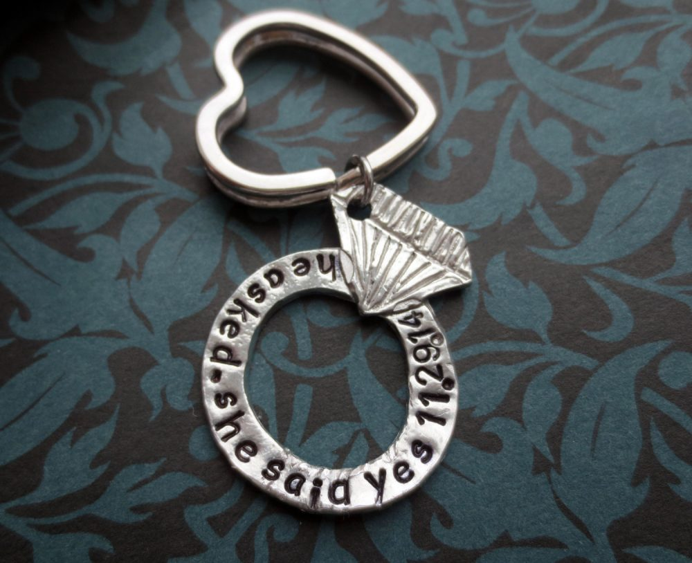 Engagement Diamond Ring Heart Shaped Key Chain Hand Stamped He Asked She Said Yes Gift Wedding Anniversary