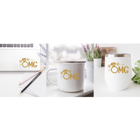 Omg Engagement Diamond Ring Coffee Mug/Wine Class Decals, Decal, Wedding Engaged, Bride To Be, Bachelorette Party