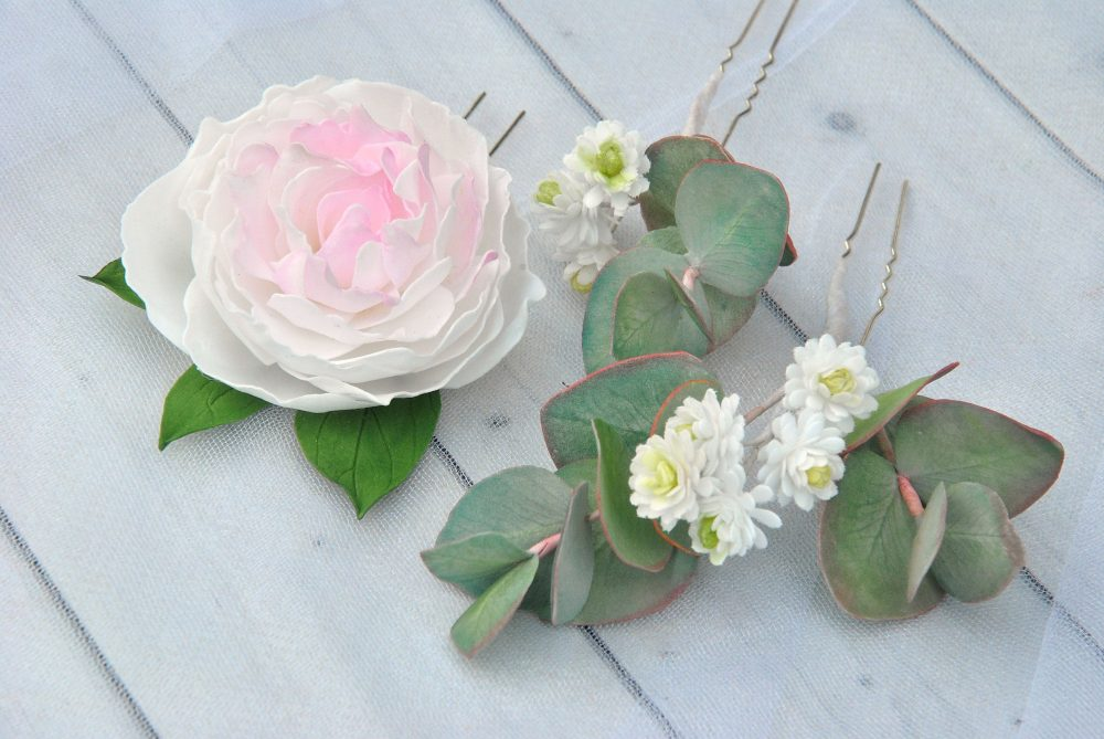 Eucalyptus Hair Pins Wedding Babys Breath Peony Piece Greenery