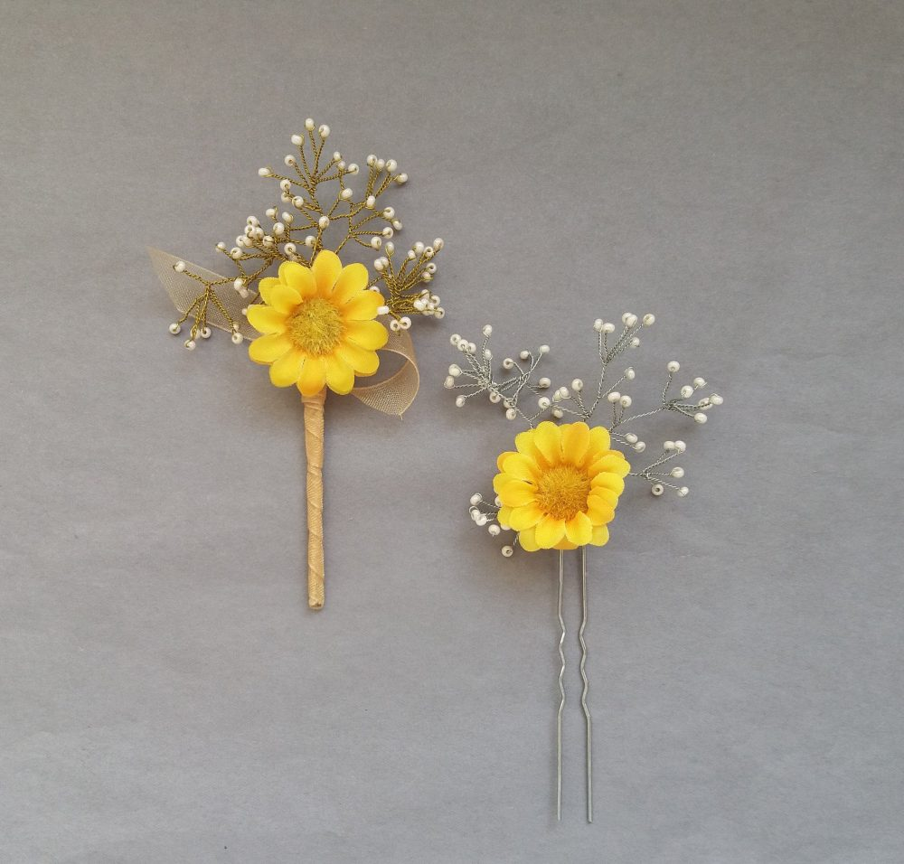 Sunflower Wedding Hair Piece Babys Breath Accessories Boutonniere Country Wedding Set Prom Jewelry Bridal Shower Gift