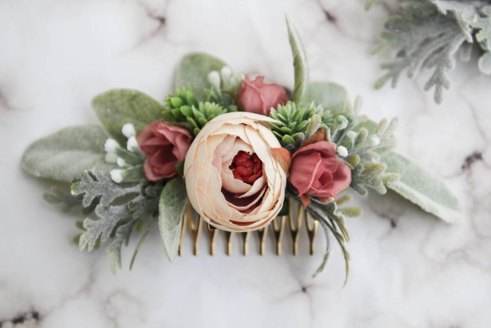 Blush Succulent Hair Comb - Peony Pin Floral Wedding Babys Breath Piece