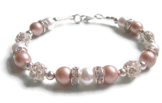 Bridal Bracelet Swarovski Powder Almond & White Pearls Rhinestones Silver Beads Classic Wedding Mother Of The Bride