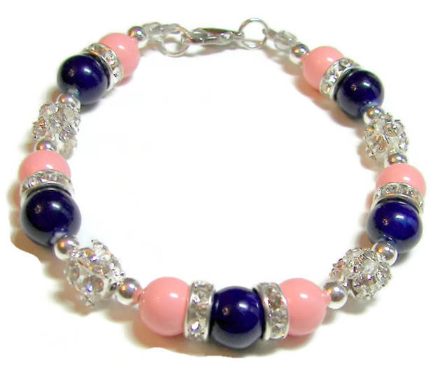 Swarovski Pink Coral & Blue Bracelet, Bridesmaid Navy Wedding, Mother Of The Bride Jewelry, Maid Honor Gift