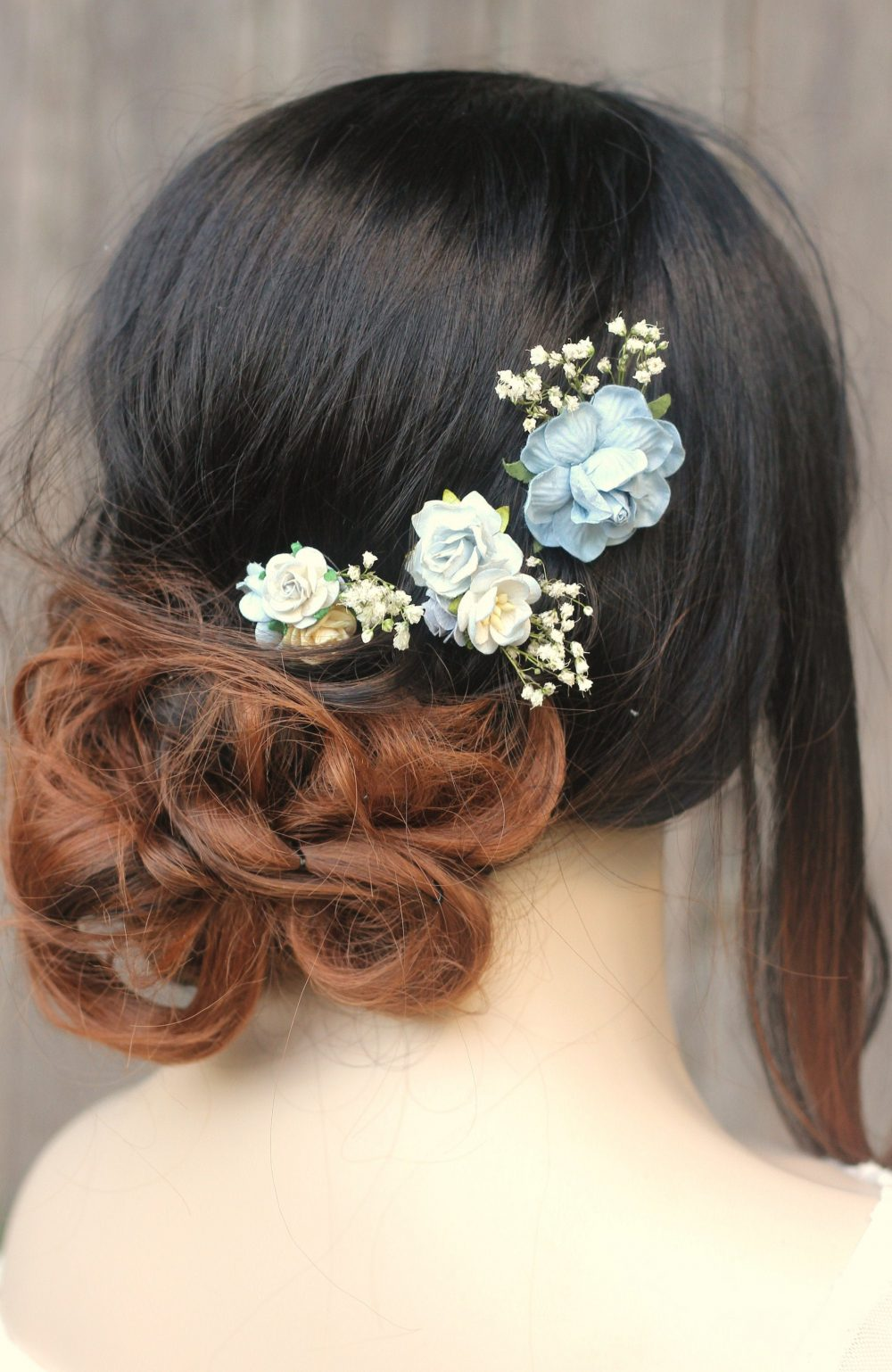 Dusty Blue Winter Wedding Babies Breath Hair Pin Set