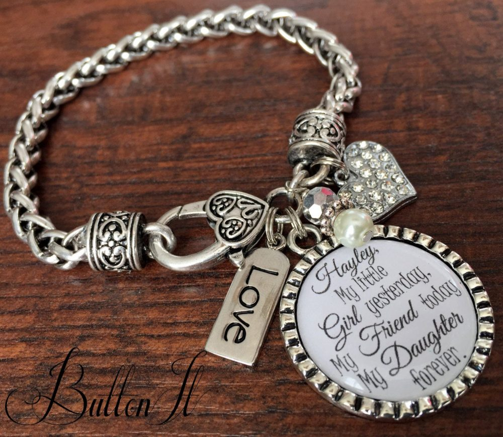Mother Daughter Bracelet, Personalized Wedding, Mother Jewelry, Wedding Gift For Bride From Mom, Daughter in Law, Charm Bracelet