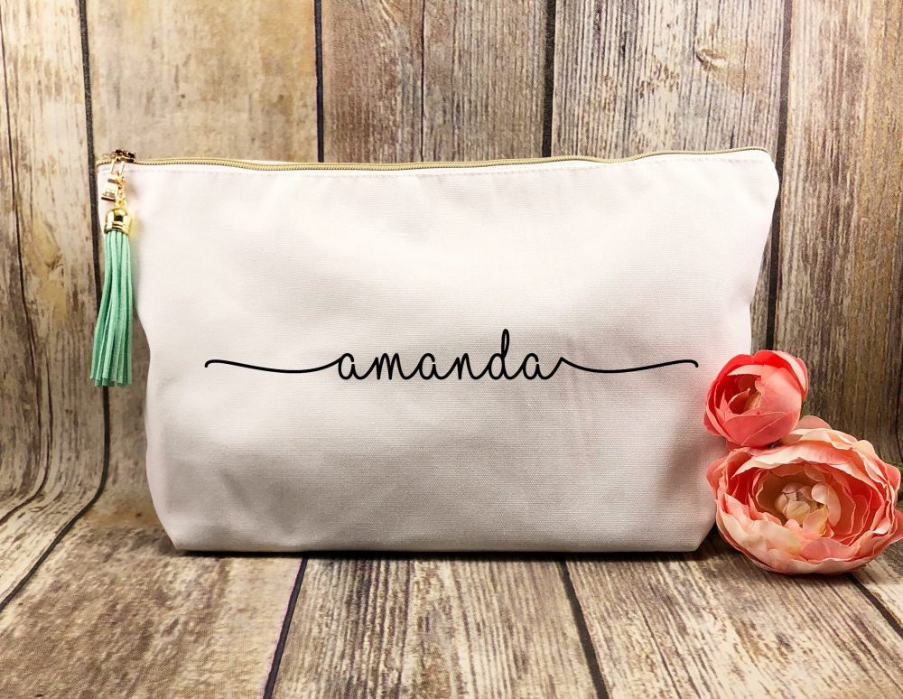 Large Personalized White Canvas Makeup Bag, Bridesmaid Gift, Customized Gift For Girlfriend, Bff