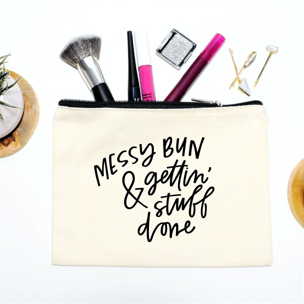 Canvas Makeup Bag, Cosmetic Mother's Day Gift, Wedding Planning, Boss Messy Bun, Getting Stuff Done, Purse Pouch, Gift For Her