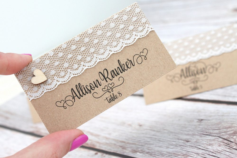 Rustic Place Cards With Lace & Wood Heart, Wedding Cards, Country Escort Table Numbers