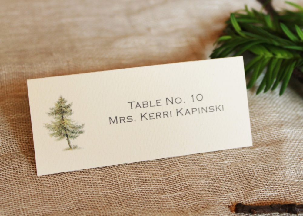 Pine Tree Wedding Table Place Cards | Woodland Seating Rustic Name Winter Escort