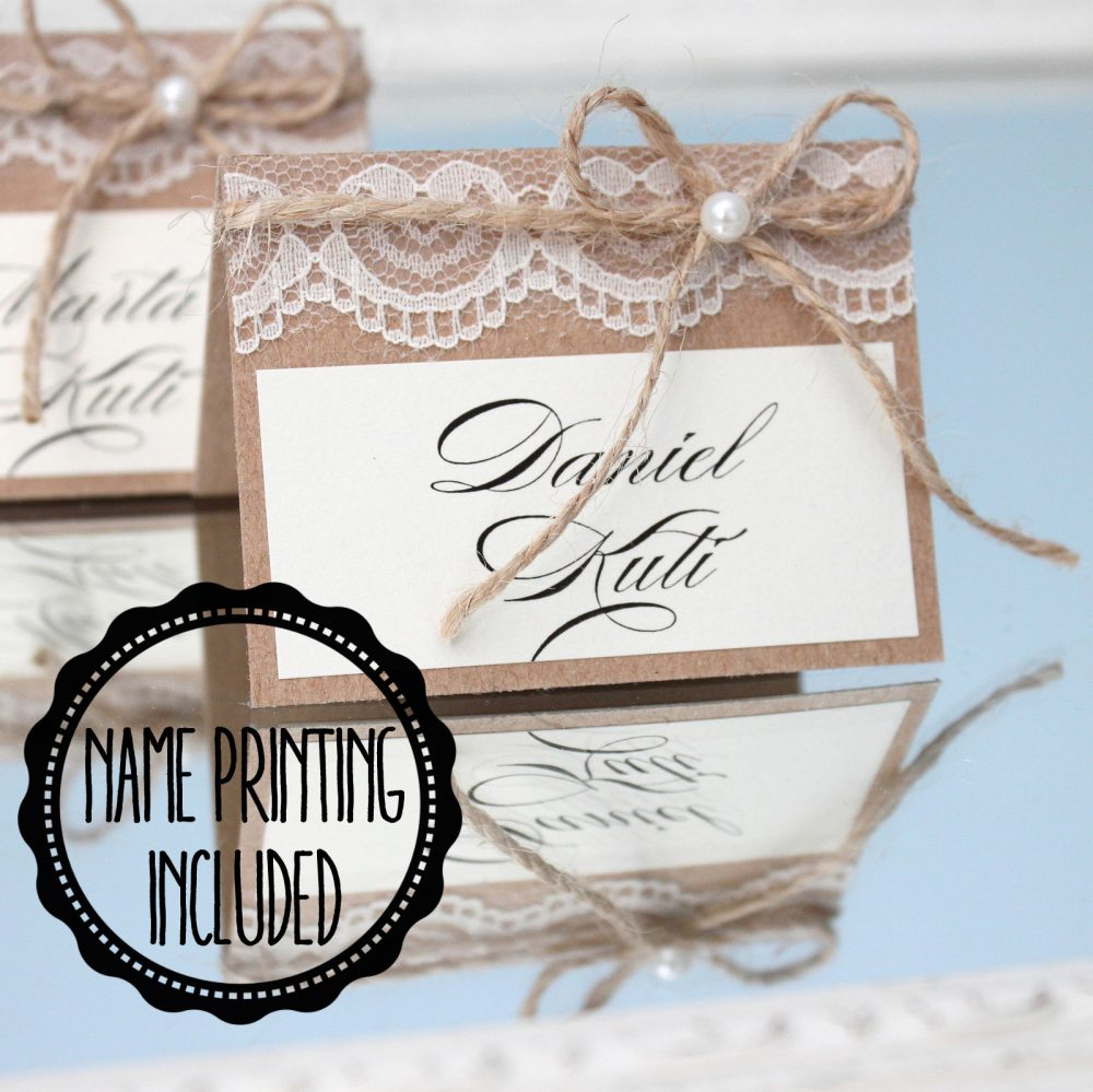 Rustic Place Cards, Wedding Country Cards For