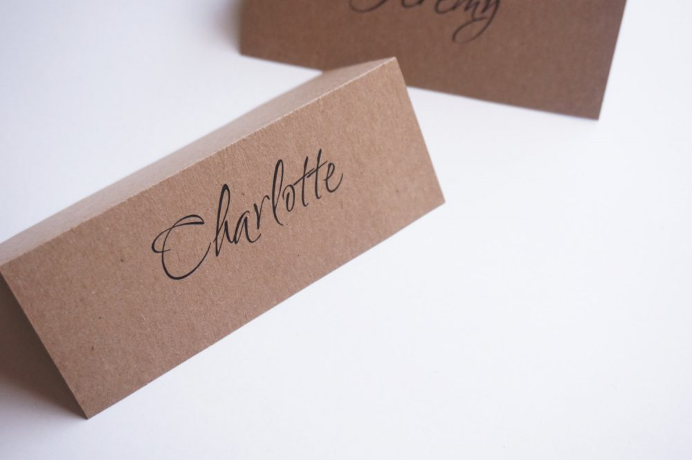 Set Of 25 - Vintage Country Wedding Rustic Place Cards Name Card Escort Wedding Place Cards Kraft Card
