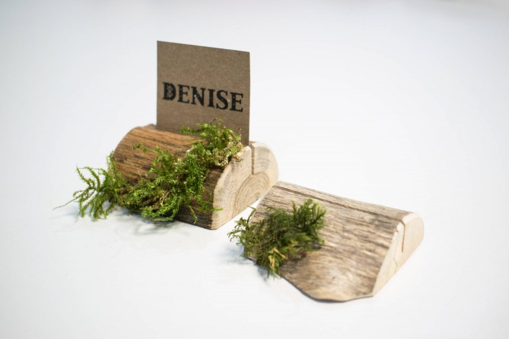 Moss Name Card Holder, Wedding Holders, Rustic Place Cards, Wooden Table Table, Setting