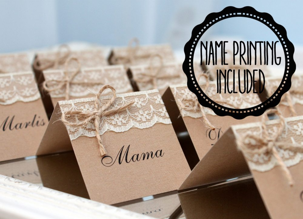 Rustic Place Cards, Wedding Country Name Cards With Lace