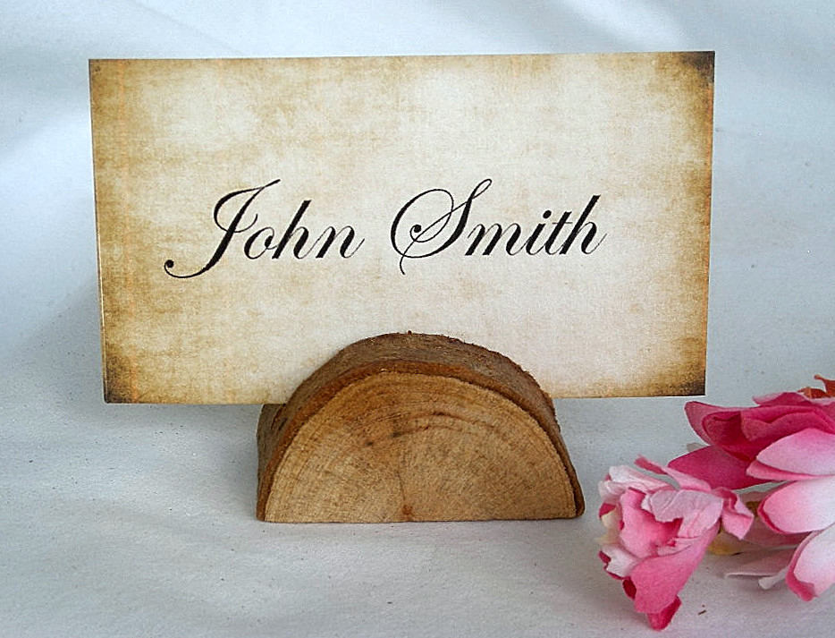 Rustic Place Card Holder Wedding Decor Tree Wood Table Number W Cards Woodland Weddings