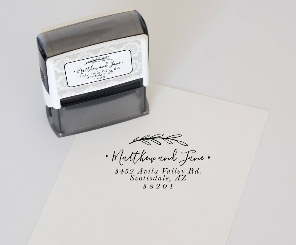 Custom Address Stamp, Self Inking Return Personalized Wedding Address Stamp & Invitation Stamp