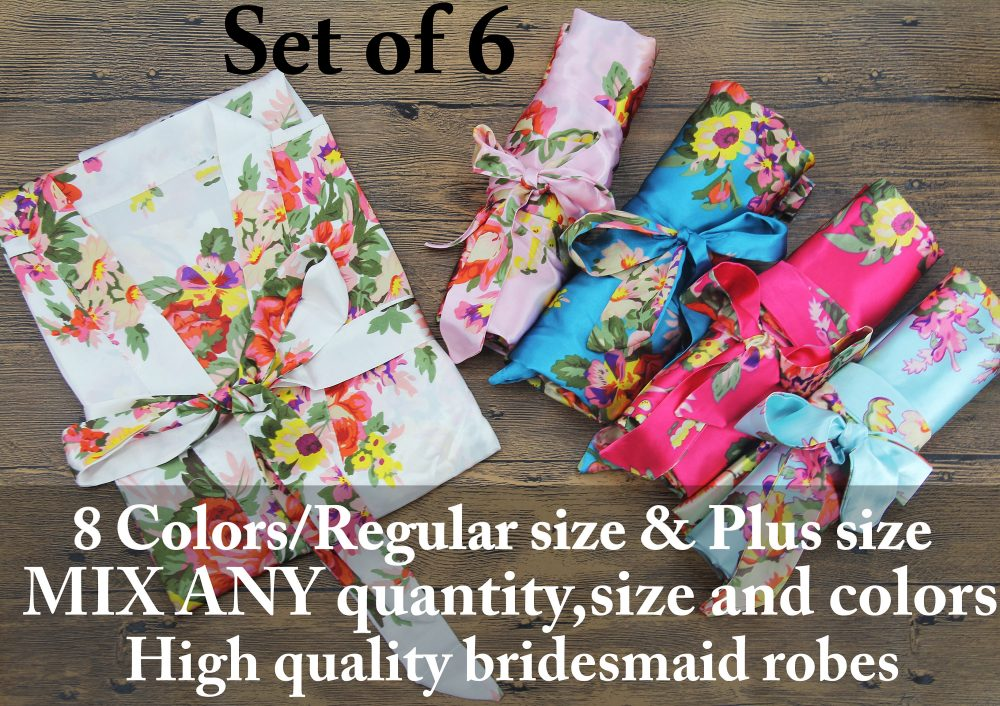 Floral Bridesmaid Robes Set Of 6 Wedding For Bridesmaids Satin Personalized Bridal Party Bridesmaid Gift Robe
