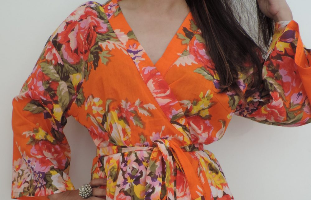 Codea-11, Orange Bridesmaid Robe, Floral Cotton Bridesmaids Gift, Getting Ready Robes, Bridal Shower, Robe