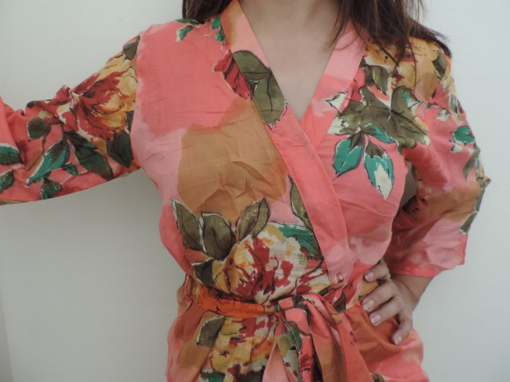 Coded-24, Coral Bridesmaids Robe, Floral Kimono, Robe Wrap, Gift, Getting Ready Robes, Bridal Shower Favors, Robes