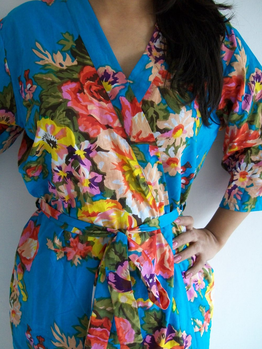 Codea-6, Light Blue Bridesmaid Robe, Floral Bridesmaids Gift, Getting Ready Robes, Baby Shower, Kimono