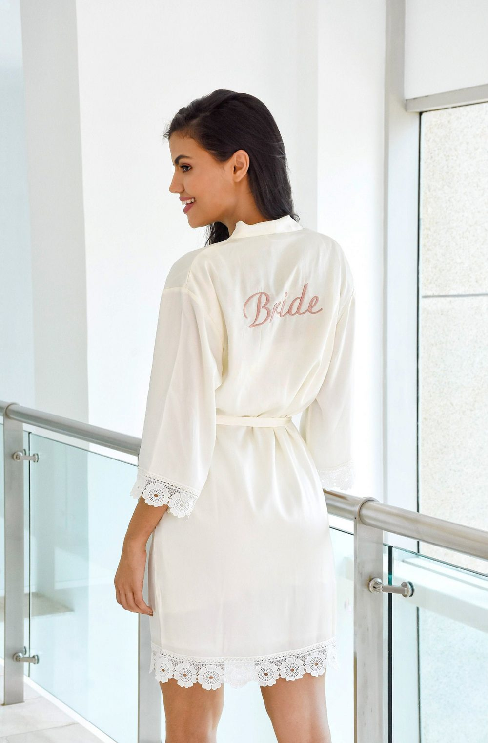 Lace Bridal Robe // Bridesmaid Robes Bride Party Gifts Satin Larissa
