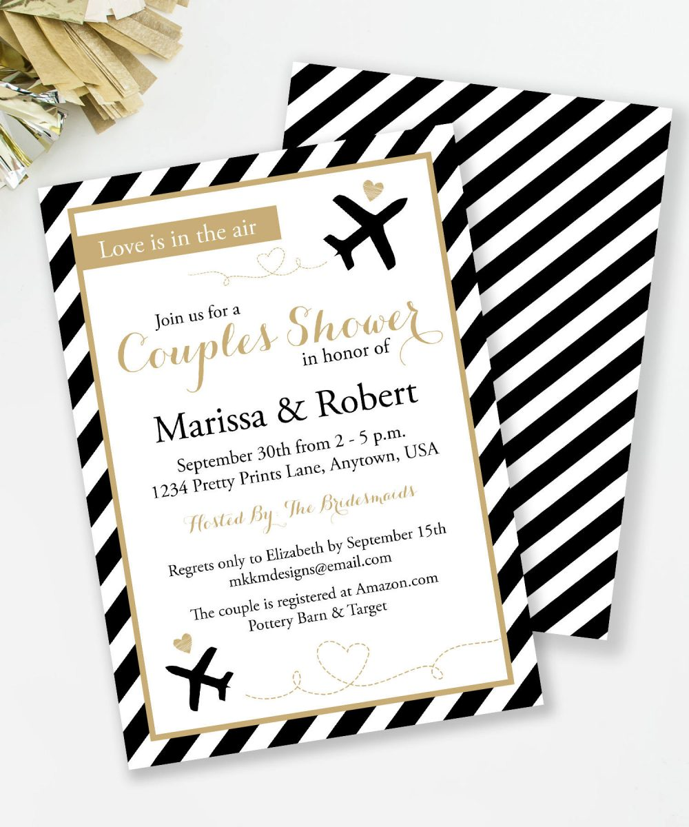 Destination Wedding Shower, Travel Bridal Love Is in The Air, Couples Airplane Invite, Pilot #31