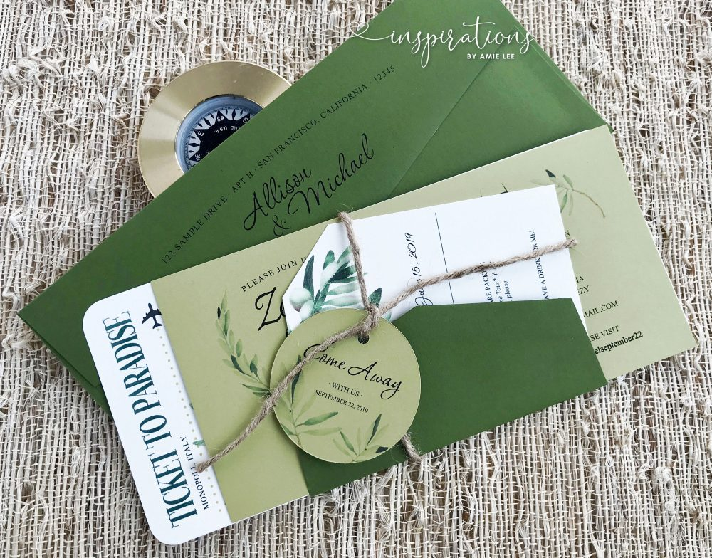 Boarding Pass Wedding Invitations, Destination Wedding, International Italy Airplane Ticket, Travel Theme, Italian