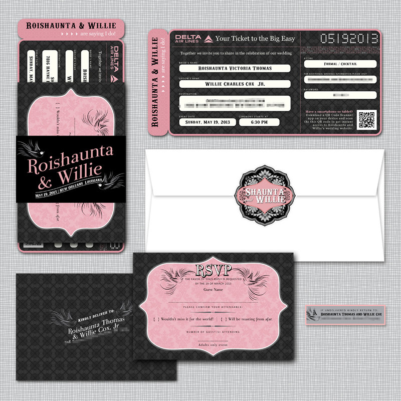 Big Easy Wedding Boarding Pass, Airline Ticket, Plane Travel Inspired Invitation, New Orleans, Louisiana