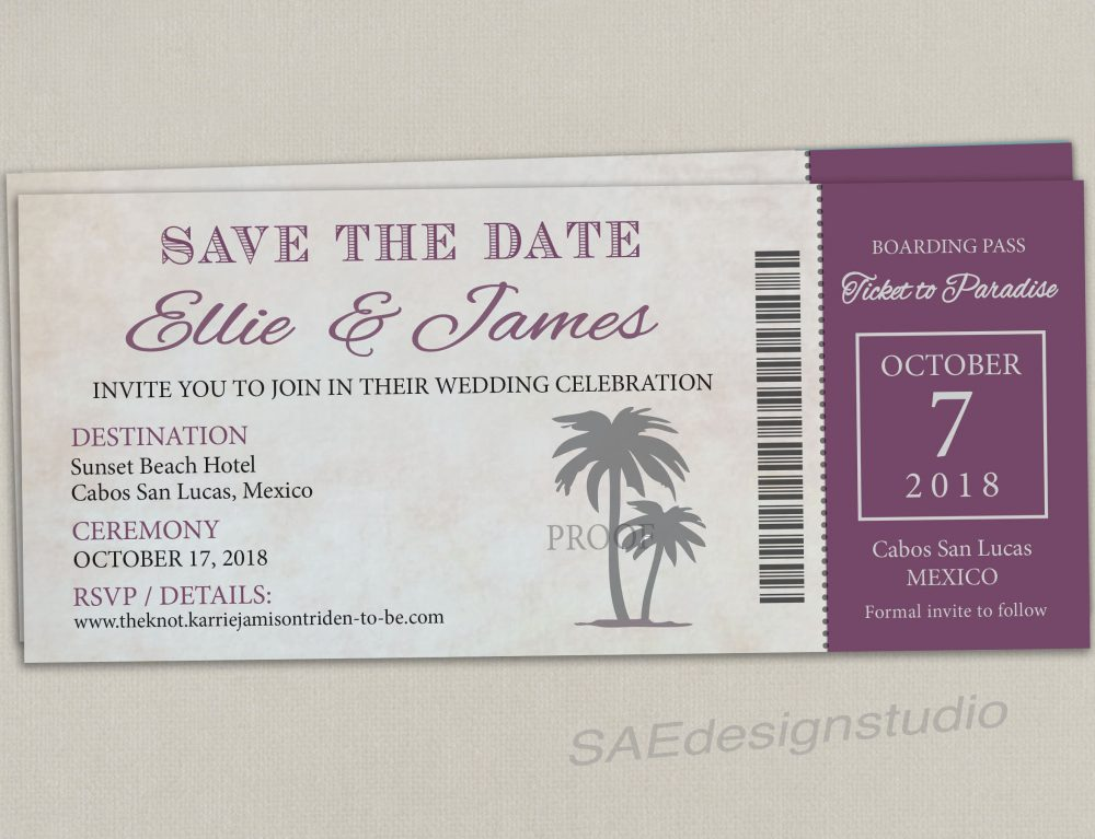 Boarding Pass Ticket Passport Wedding Save The Date Reception Elope Invitation Card Magnet Destination Travel Cruise Purple Grey