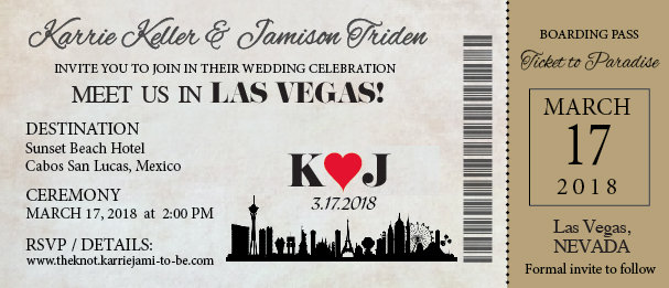 Las Vegas Boarding Pass Ticket Wedding Save The Date Reception Elope Invitation Card Magnet Beach Destination Disney Cruise