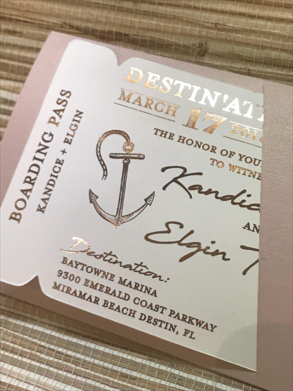 Foil Boarding Pass Invite. Beach Wedding Invitation. Destination Wedding Save The Date. Tropical Invitation. Save Date Cards