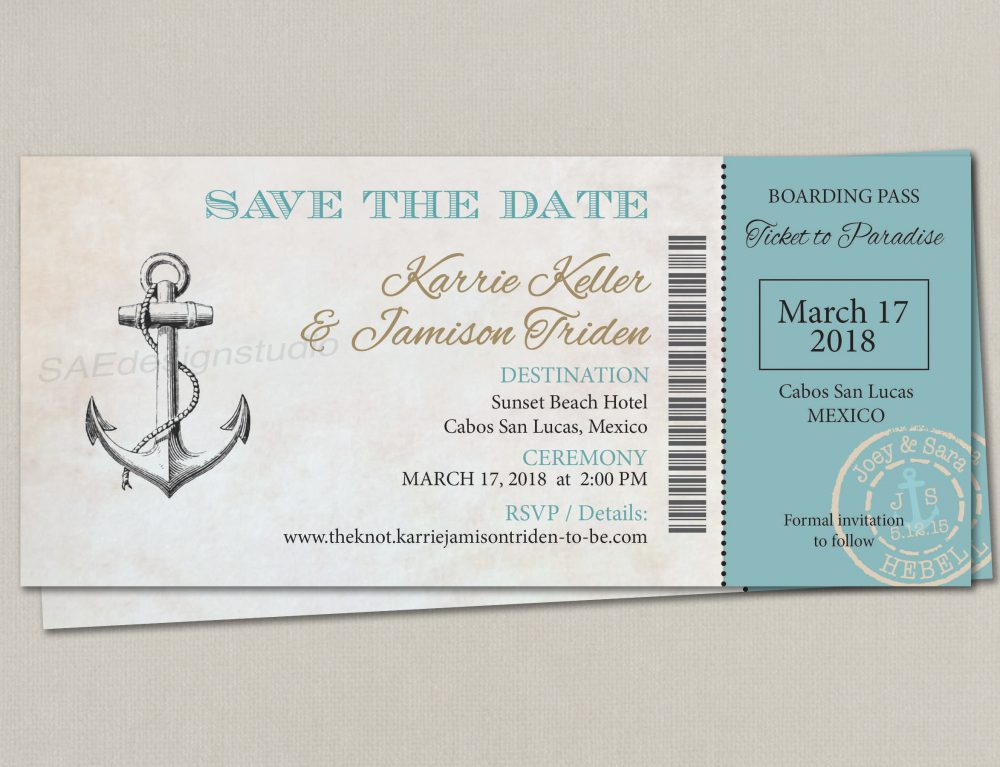Cruise Boarding Pass Ticket Passport Wedding Save The Date Reception Elope Invitation Card Magnet Destination Nautical Travel