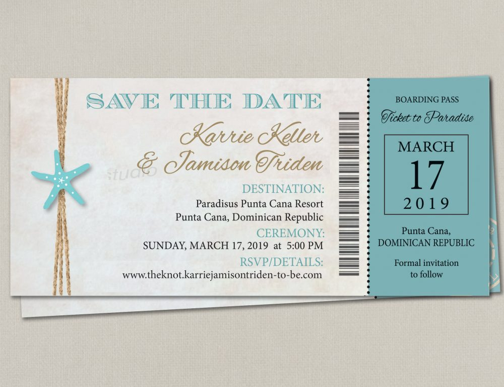 Boarding Pass Ticket Wedding Save The Date Reception Elope Invitation Card Magnet Beach Destination Boho Travel Cruise Pink Nautical