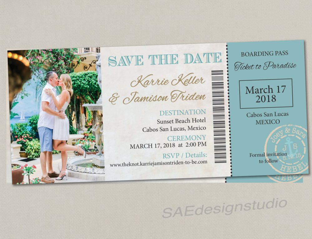 Boarding Pass Ticket Wedding Save The Date Reception Elope Invitation Card Magnet Beach Destination Travel Disney Cruise Purpley