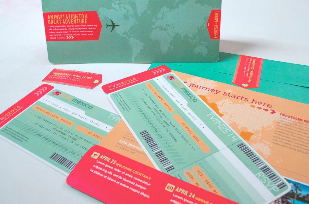 Custom Boarding Pass, Airline Plane Ticket, Mexico Destination Wedding Invitation Travel Inspired Invite World Map Ticket Holder