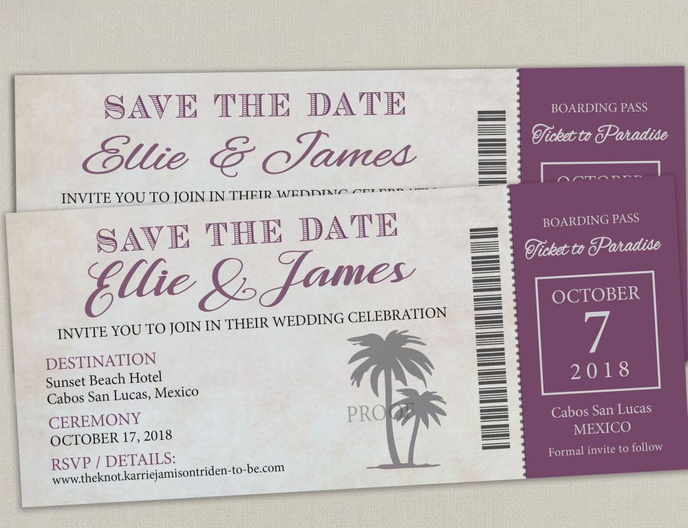 Disney Cruise Boarding Pass Ticket Wedding Save The Date Reception Elope Invitation Card Magnet Destination Nautical Travel Disney