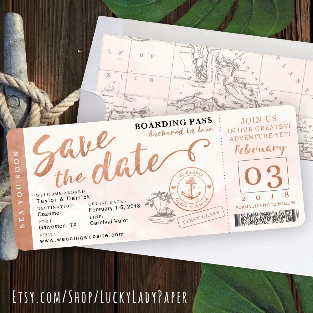 Destination Wedding Boarding Pass Save The Date Invitation in Rose Gold & Blush Watercolor Nautical Cruise Design By Luckyladypaper