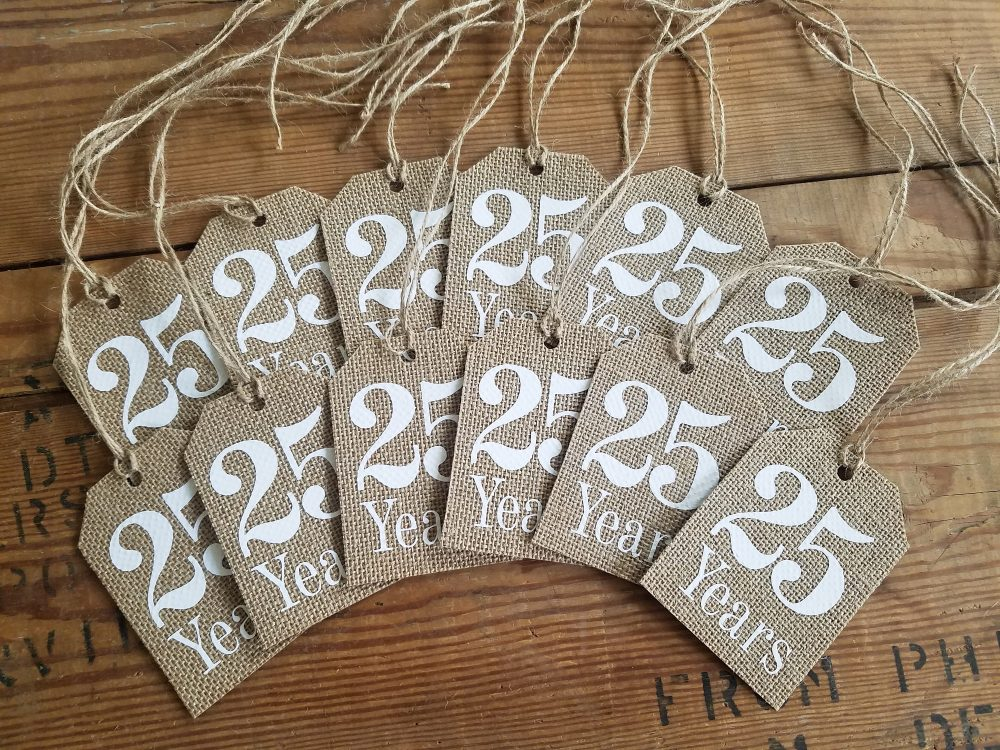 Anniversary Tag Burlap Table Numbers Burlap Rustic Tag Wedding Anniversary Decor 50Th 25Th