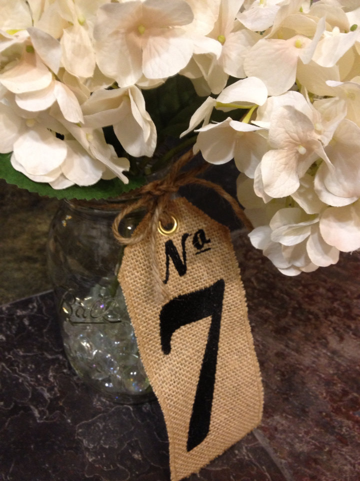 Burlap Table Numbers - Set Of 20 Wedding Centerpieces Custom Embroidered