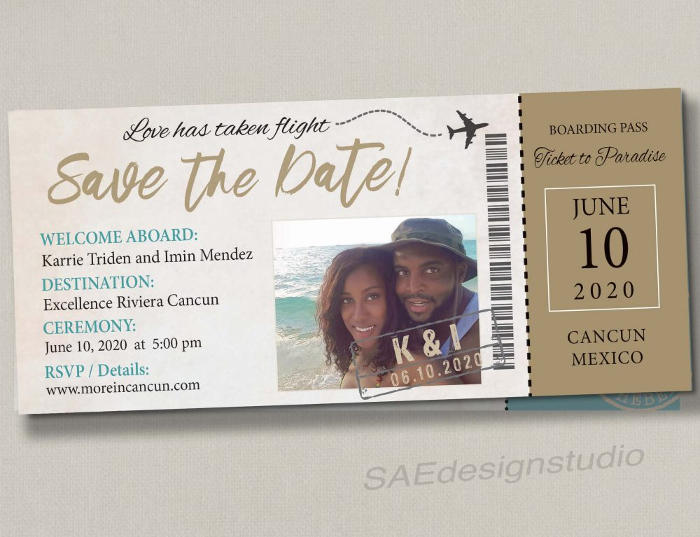 Boarding Pass Pink Ticket Wedding Save The Date Reception Elope Invitation Card Magnet Beach Destination Travel Disney Cruise