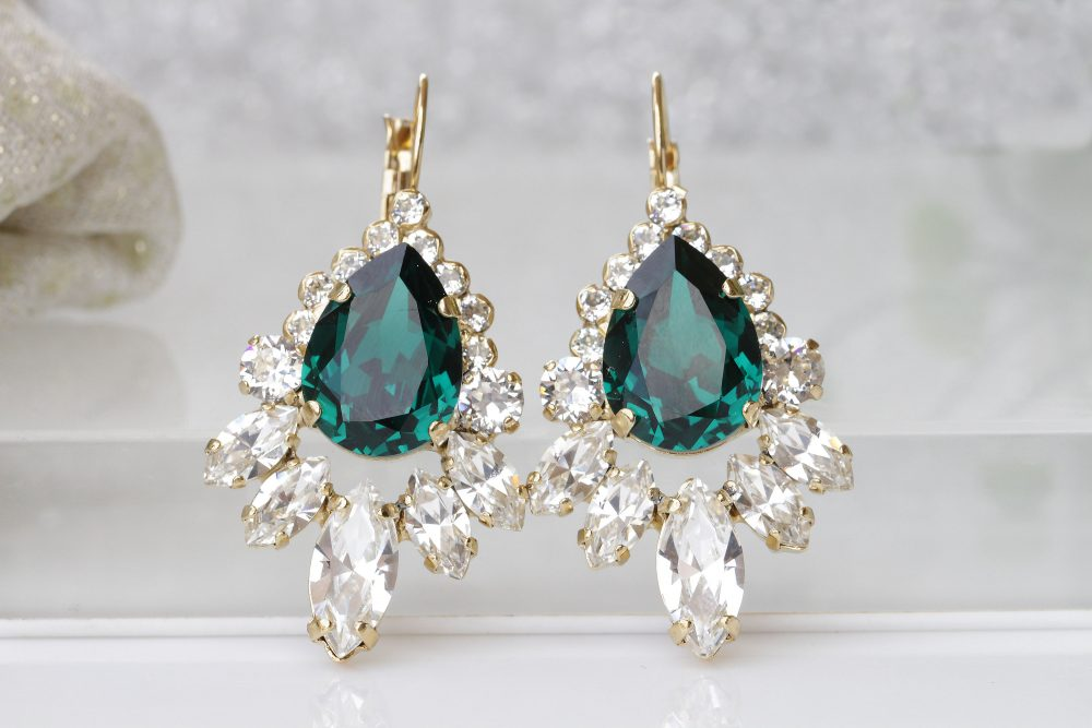 Mother's Day Jewelry, Emerald Bridal Earrings, Large Drop Cluster Classic Earrings, Wedding Swarovski Green Jewelry, Mother Of Groom