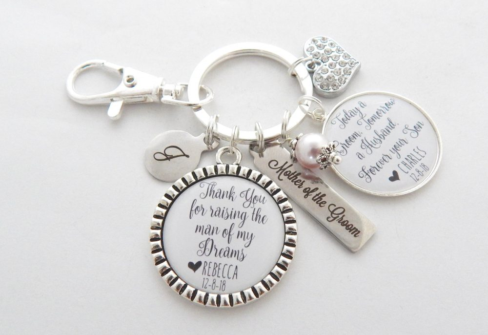Personalized Mother Of Groom Gift-Name Date Wedding Jewelry-Mother Of Keychain-Mother in Law Gift-From Son-Onlinejewelry Store