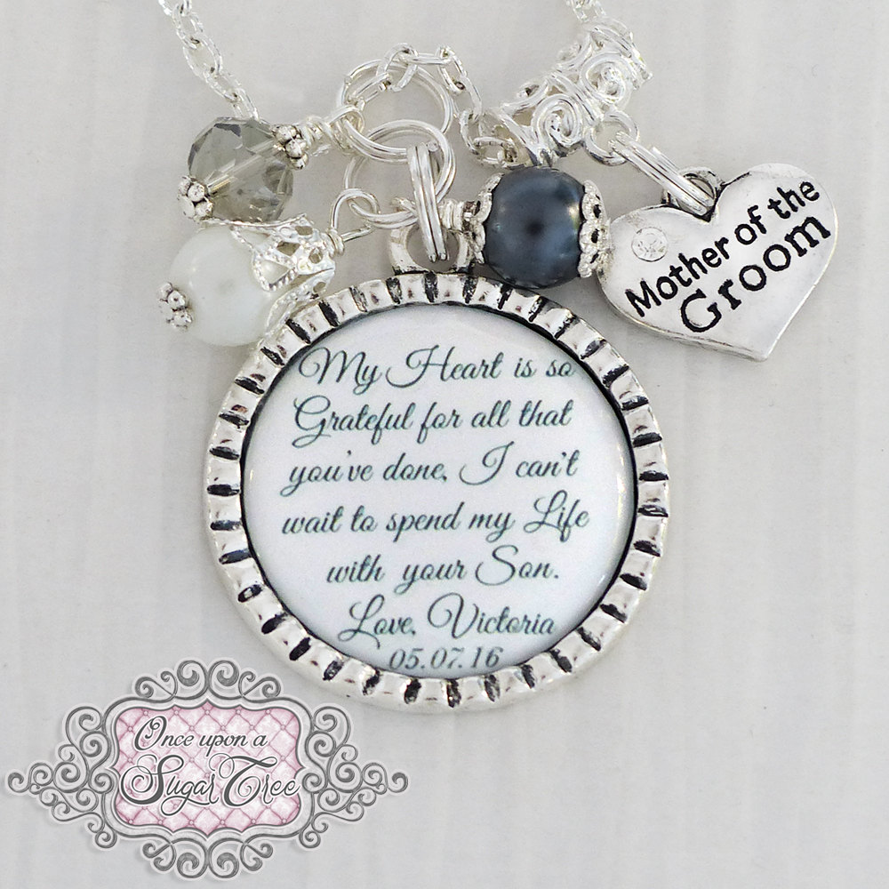 Mother Of Groom Gift From Bride, Wedding Necklace Bridal Jewelry, My Heart Is So Grateful Necklace, Personalized Name Date, Charm-Love