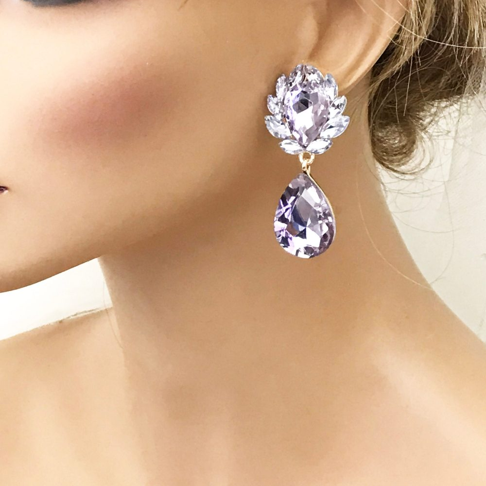 Purple Bridal Earrings, Lavender Victorian Drop Jewelry, Mother Of Groom Bride Fashion Jewelry
