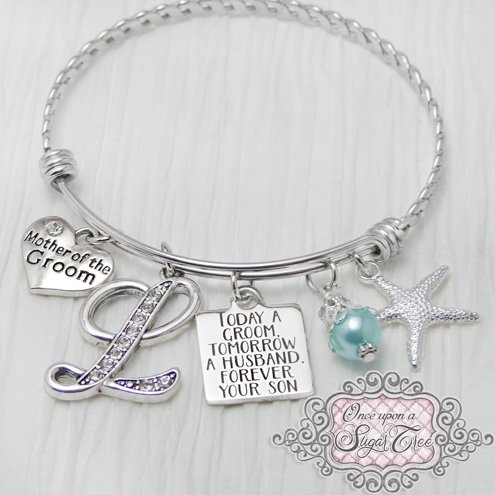 Mother Of Groom Bracelet -Today A Tomorrow Husband-starfish Wedding Jewelry-Initial Bridal Jewelry-Expandable Bangle, Blue, From Son